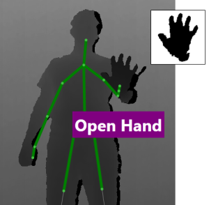 Depth frame showing skeleton and extracted hand.